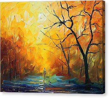 Fog - Palette Knife Oil Painting On Canvas By Leonid Afremov Canvas Print by Leonid Afremov