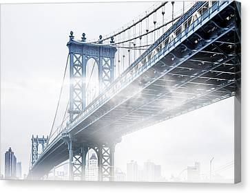 Fog Under The Manhattan Canvas Print by Az Jackson