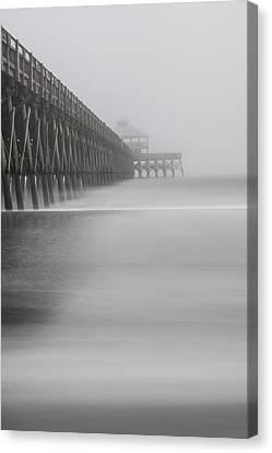 Foggy Folly Beach Pier Canvas Print by John McGraw