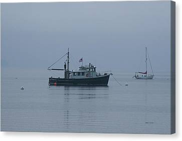Foggy Start To The Day Penobscot Bay Maine Canvas Print by Brian M Lumley