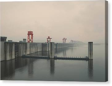 Foggy Three Gorges Dam Canvas Print by Bekare Creative