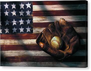 Folk Art American Flag And Baseball Mitt Canvas Print by Garry Gay