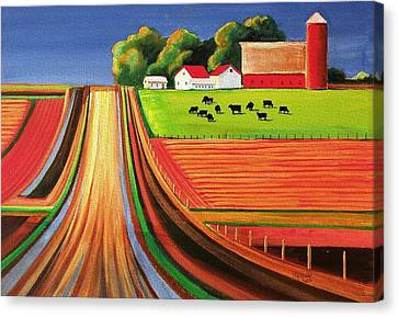 Folk Art Farm Canvas Print by Toni Grote