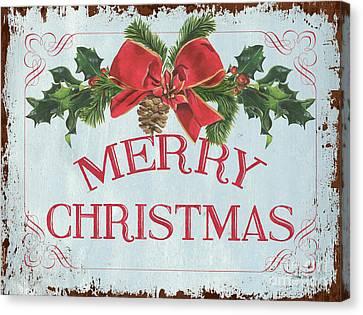 Folk Merry Christmas Canvas Print by Debbie DeWitt