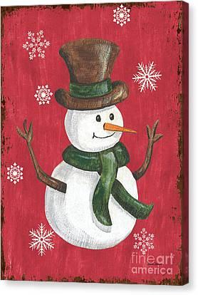 Folk Snowman Canvas Print by Debbie DeWitt