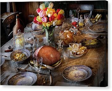 Food - Easter Dinner Canvas Print by Mike Savad