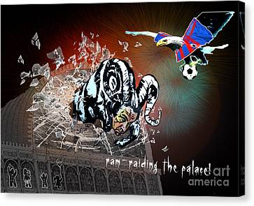 Football Derby Rams Against Crystal Palace Eagles Canvas Print by Miki De Goodaboom