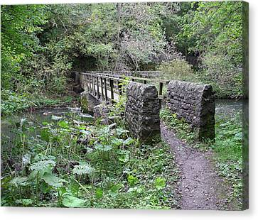Footbridge At Millers Dale Canvas Print by Rod Johnson