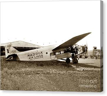 Ford 4-at-a Maddux Air Lines Los Angeles Circa 1928 Canvas Print by California Views Mr Pat Hathaway Archives