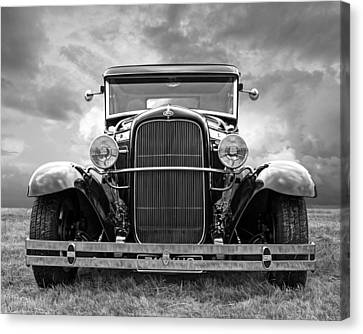 Ford Coupe Head On In Black And White Canvas Print by Gill Billington