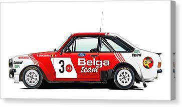 Ford Escort Rs Belga Team Illustration Canvas Print by Alain Jamar
