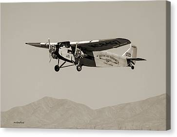 Ford Tri-motor Taking Off - Sepia Tone Canvas Print by Allen Sheffield