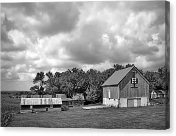 Forest For The Trees - Quilt Barn - Nebraska Canvas Print by Nikolyn McDonaldFarm Scene - Barns - Nebraska - BW