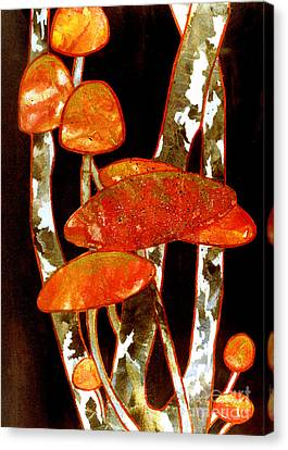 Forest Treasures A Collage Depicting Woodland Mushrooms Canvas Print by Phil Albone