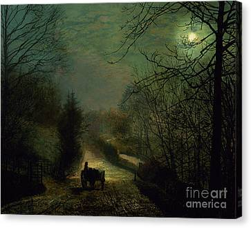 John Atkinson Grimshaw Canvas Print featuring the painting Forge Valley by John Atkinson Grimshaw