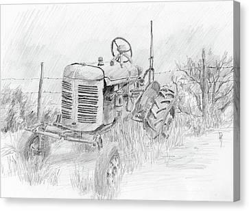Forgotten Farmall Graphite Canvas Print by David King
