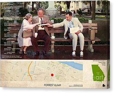 Forrest Gump Film Location And Script, Georgia Canvas Print by Pablo Franchi