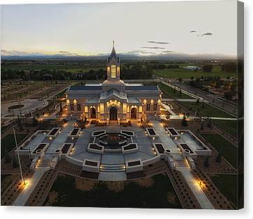 Fort Collins Glow    Lds Temple Canvas Print by David Zinkand