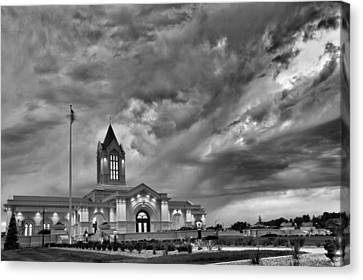 Fort Collins Lds Temple In B And W Canvas Print by David Zinkand