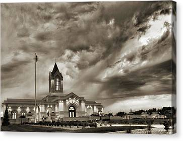 Fort Collins Lds Temple In Sepia Canvas Print by David Zinkand