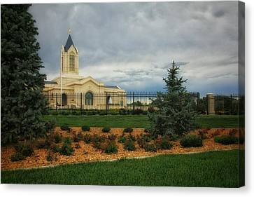 Fort Collins Lds Temple Se Landscape Side Canvas Print by David Zinkand