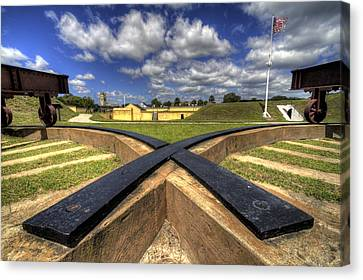 Fort Moultrie Cannon Tracks Canvas Print by Dustin K Ryan