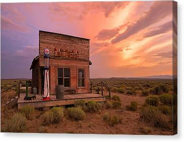 Fort Rock Storm Canvas Print by Christian Heeb