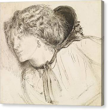 Found - Study For The Head Of The Girl Canvas Print by Dante Gabriel Rossetti