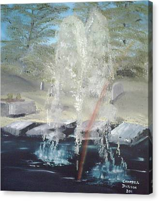 Fountain At Cataraqui Canvas Print by Campbell Dickison