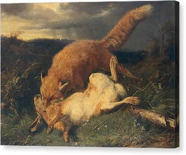 Fox And Hare Canvas Print by Johann Baptist Hofner