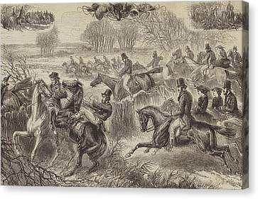 Running Horses Canvas Print featuring the drawing Fox Hunting, Full Cry by JH Nicholson