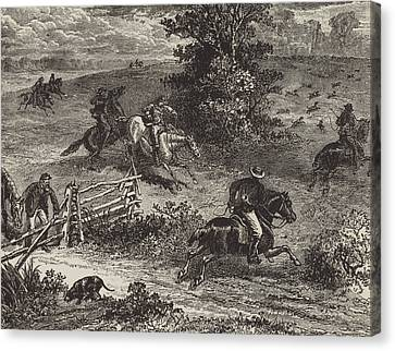 Fox Hunting In Virginia Canvas Print by George Augustus Sala