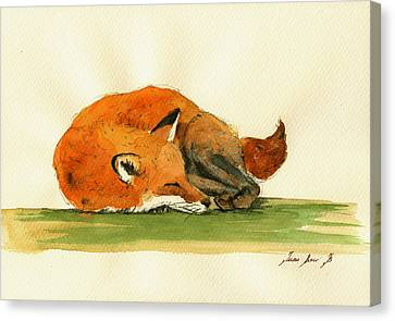 Fox Sleeping Painting Canvas Print by Juan  Bosco