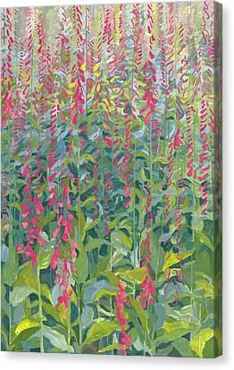 Foxgloves Canvas Print by Leigh Glover