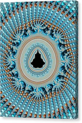 Fractal Art Crochet Style Blue And Gold Canvas Print by Matthias Hauser