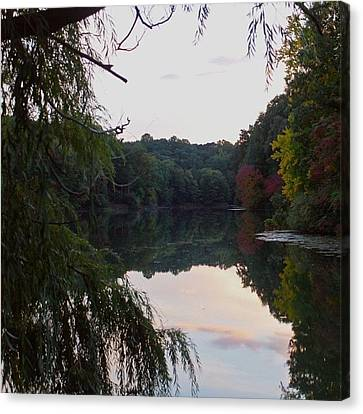 Framed Lake Reflection  Canvas Print by Justin Connor