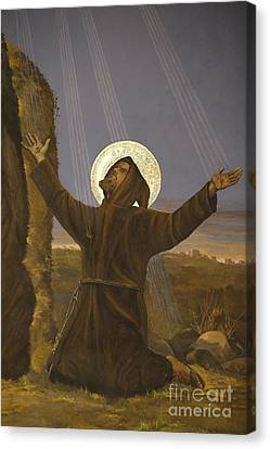 Francis Of Assisi Receives The Stigmata Canvas Print by Italian School