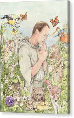 Francis Of Assisi With The Animals Canvas Print by Morgan Fitzsimons