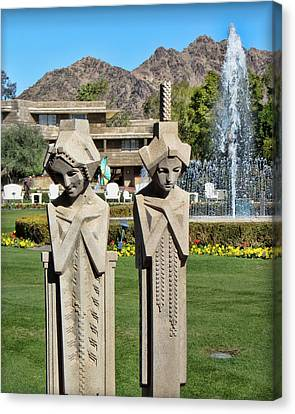 Frank Lloyd Wright Maidens At The Biltmore Canvas Print by Diane Wood