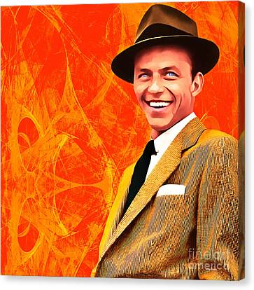 Frank Sinatra Old Blue Eyes 20160922 Square Canvas Print by Wingsdomain Art and Photography