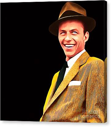 Frank Sinatra Old Blue Eyes 20160922v2 Square Canvas Print by Wingsdomain Art and Photography