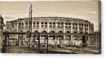 Franklin Field In Sepia Canvas Print by Bill Cannon