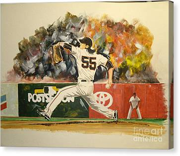 Freaky Tim Lincecum Canvas Print by Phil  King