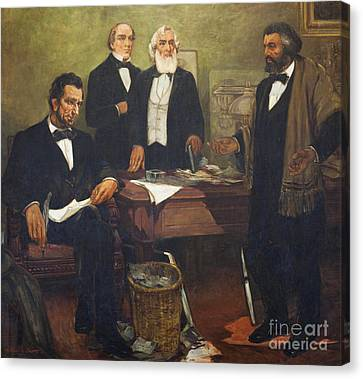 Frederick Douglass Appealing To President Lincoln And His Cabinet To Enlist African Americans Canvas Print by William Edouard Scott
