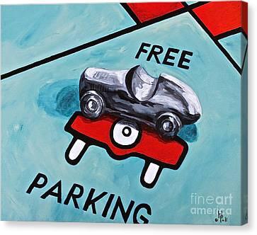 Free Parking Canvas Print by Herschel Fall