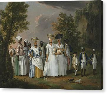 Free Women Of Color With Their Children And Servants In A Landscape Canvas Print by Agostino Brunias