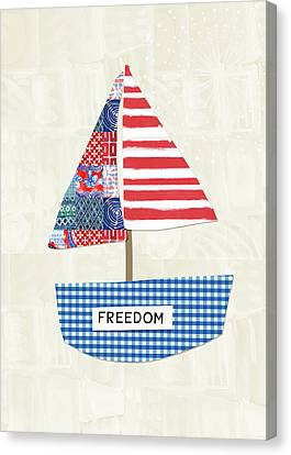 Freedom Boat- Art By Linda Woods Canvas Print by Linda Woods