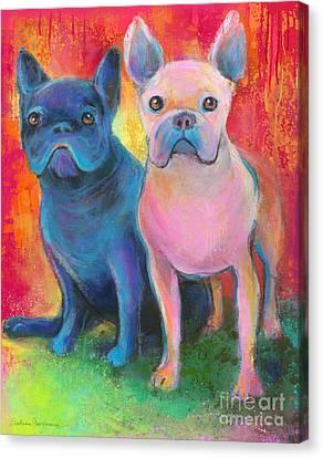 French Bulldog Dogs White And Black Painting Canvas Print by Svetlana Novikova