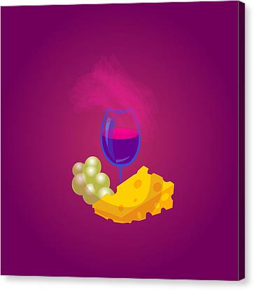 French Cheese And Glass Of Wine Canvas Print by Dragana  Gajic