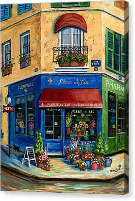 French Flower Shop Canvas Print by Marilyn Dunlap
